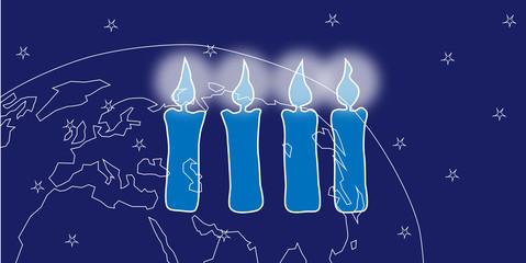 Weihnachten mit Kerzen und Weltkugel