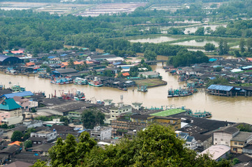Chumphon, Thailand , Community house along the river at Mutsea M