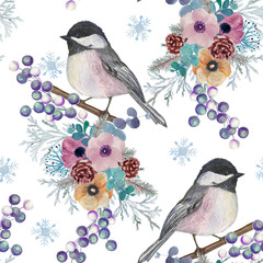 Christmas pattern with winter flowers and birds. Hand painting. Watercolor. Seamless pattern for fabric, paper and other printing and web projects.