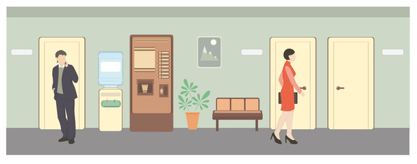 Man and woman in hall. Office life. Flat style vector illustration. Situation in office.