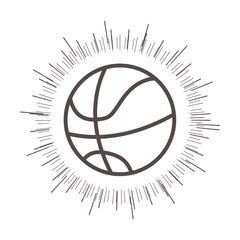 basketball ball sport equipment icon with  sunburst over white background. vector illustration