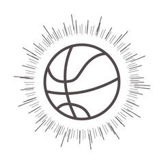 basketball ball sport equipment icon with  sunburst over white background. vector illustration