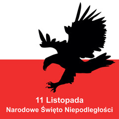 eagle and polish flag in background. Concept of Polish independence