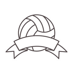 volleyball ball sport equipment icon with ribbon  over white background. vector illustration