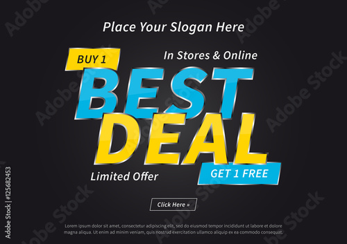 Banner best deal buy 1 get 1 free vector illustration on for Best place to buy posters in store