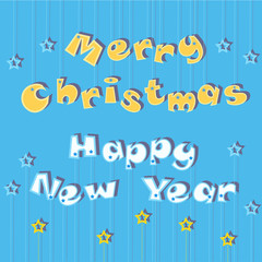 Merry Christmas Happy New Year. Greeting card