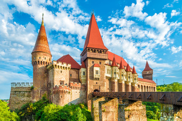 Fotobehang Kasteel Medieval Hunyad Corvin castle, Hunedoara town,Transylvania regiom,Romania,Europe