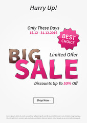 Poster Big Sale Limited Offer vector illustration
