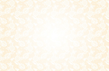 Delicate beige background with lace floral pattern