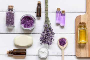 natural cosmetic with lavender top view