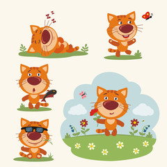 Vector set funny kitten cat in different poses on summer meadow with flowers. Collection little kitten cat in cartoon style.