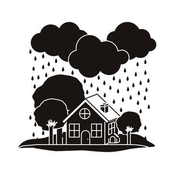 rain emergency. natural disaster design over white background. vector illustration