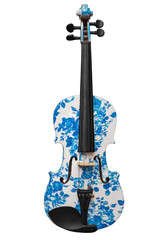classic musical instrument violin white with blue pattern isolated on white background