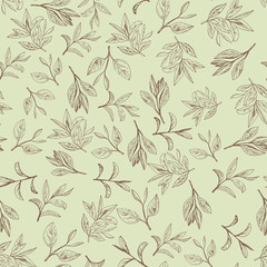 seamless pattern with tea leaf. Hand drawn