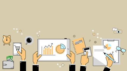Business analytics concept. Reports, finance, accounting. Vector flat line