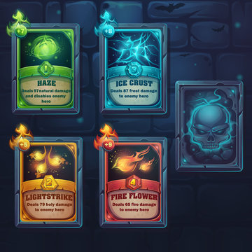 Set spell cards of nature, ice, fire, light