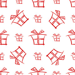 Seamless merry christmas and new year pattern with gift box. Vector background. Holiday decorations.
