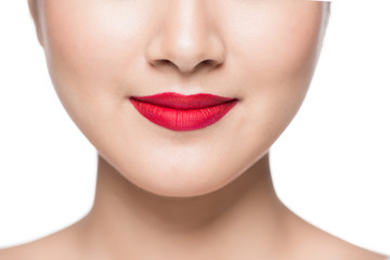 Asian girl with red lips isolated on white.