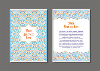 Templates flyer and invitation card in Oriental design. Floral ornament and pattern in a Moorish style. Arabesque.