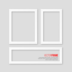 3D white realistic frames with shadow on grey background. Vector