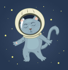 Sad cat in a spacesuit on the space background. square sticker v