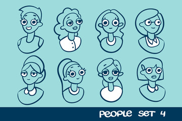 People flat icons collection. Vector illustration isolated on a blue background.