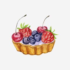 vector watercolor cake with berries