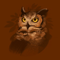 Eagle Owl illustration on a brown background. Hand drawn picture.
