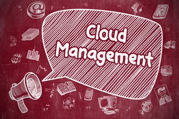 Cloud Management - Doodle Illustration on Red Chalkboard.