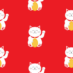 Japanese Maneki Neco kitten waving hand paw. Lucky cat holding golden coin. Seamless Pattern Cute character. Wrapping paper, textile template. Red background. Flat design.
