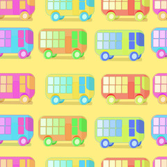 seamless pattern of colored buses of children on a yellow backgr