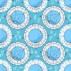 seamless pattern natal astrological chart, zodiac signs.