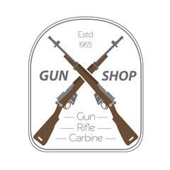 Firearm logo template. Guns, rifles badge. Flat design