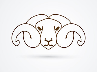 Sheep head with big horn outline graphic vector.