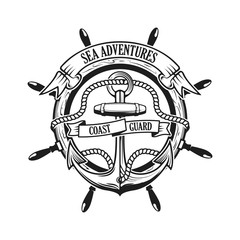 Sea adventures. Coast guard. Anchor with rope and ribbons on background with steering wheel. Ship helm. Design element for logo, label, emblem, sign, t-short print, sign. Vector illustration.