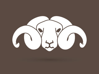 White sheep head with big horn graphic vector.
