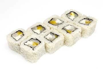 Japanese seafood sushi , roll, isolated