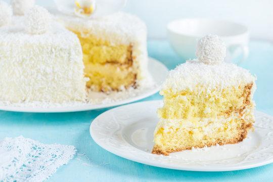 festive lemon and coconut sponge cake