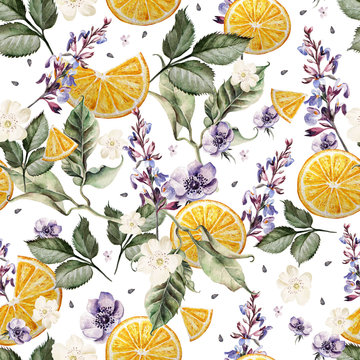 Colorful watercolor pattern with lavender flowers, anemones, and orange fruits. Illustrations.