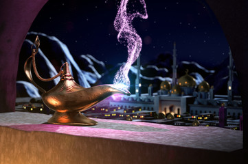 3D fairytale of magic lamp