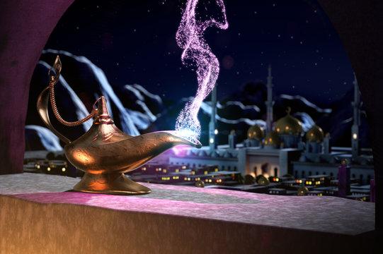 3D fairytale of magic lamp