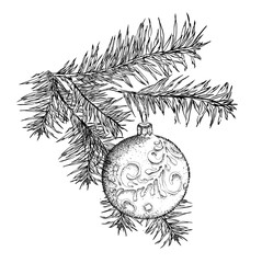 Balls on the Christmas tree. Merry Christmas lettering design. Vector illustration