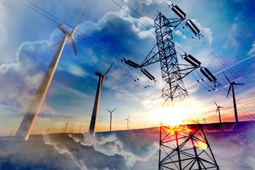Aerogeneradores y concepto de energia renovable.Electricidad y paisaje de molinos de viento.Torre de alta tension