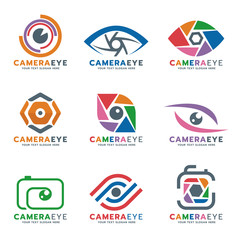 Camera and eye logo vector set design