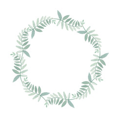 Beautiful watercolor wreath with branches of eucalyptus. Illustrations.
