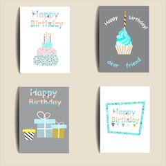 Happy birthday memphis cards. Set - vector stock.