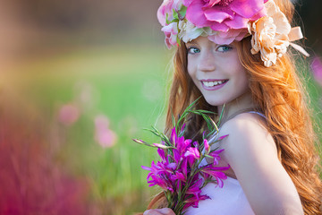 pretty summer girl with crown of flowers