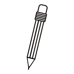 silhouette of pencil with eraser icon over white background. vector illustration