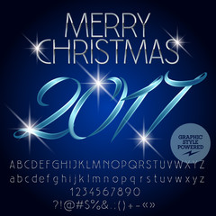 Vector magical Merry Christmas 2017 greeting card with set of letters, symbols and numbers. File contains graphic styles