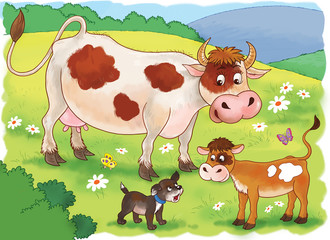 At the farm. Cute mother cow, her calf and a puppy. Illustration for children. Coloring book. Coloring page. Funny cartoon characters.